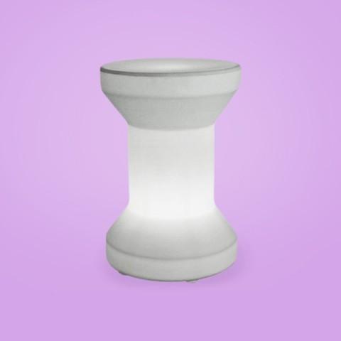 Banco Iluminado Carretel Branco