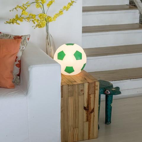 Luminária Bola de Futebol - Branco e Verde