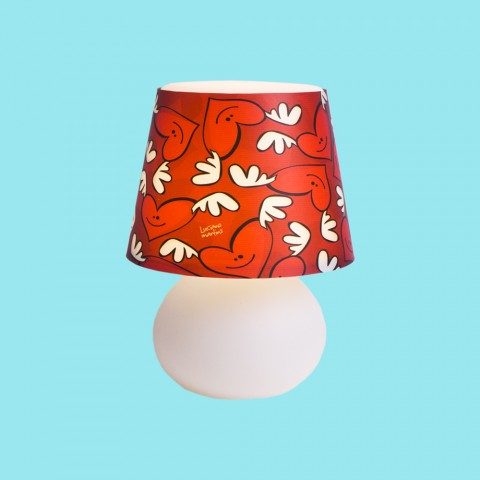 Abajur Micro Lampe Capa Corações Alados Luciano Martins